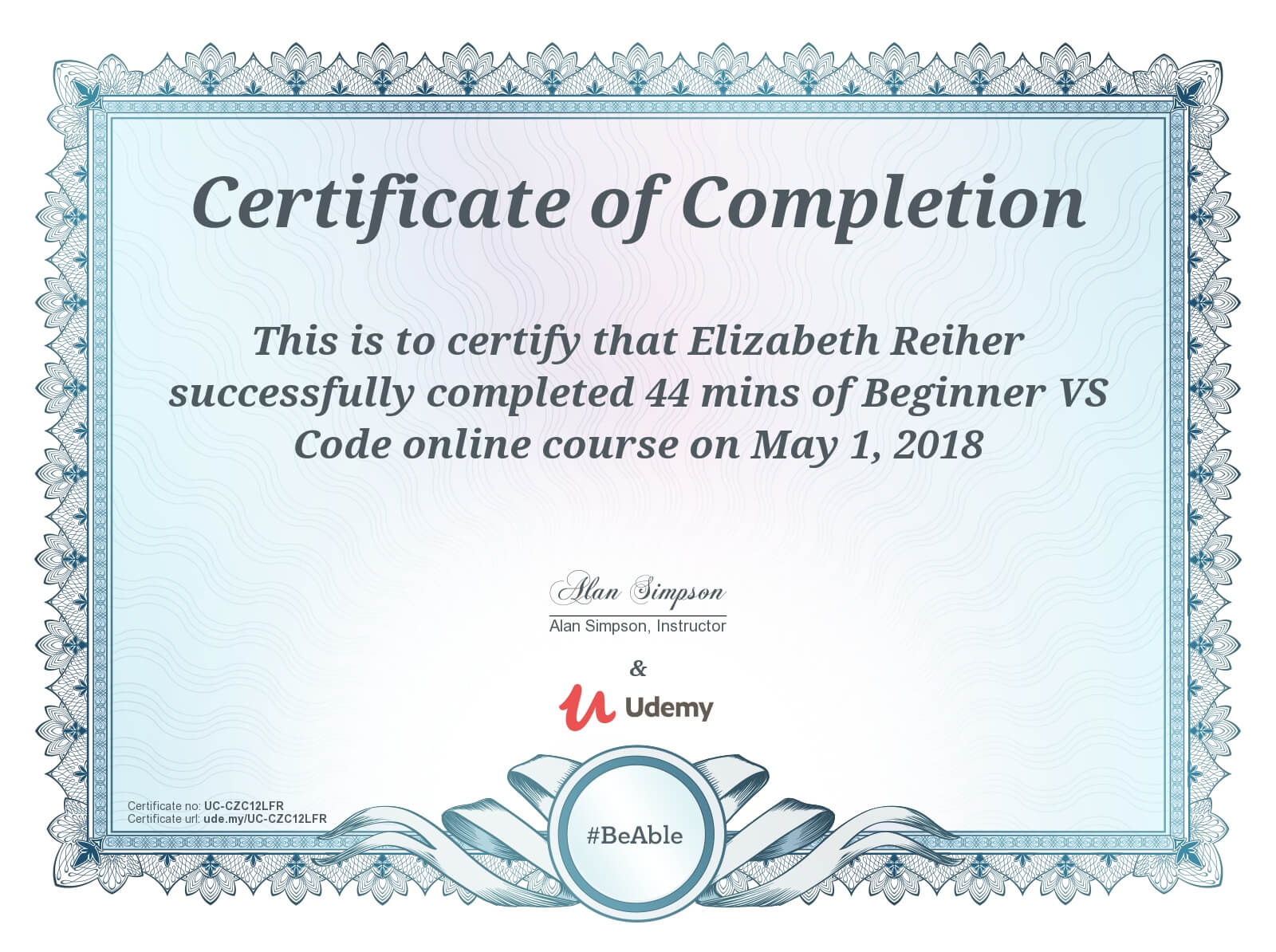 Beginner VS Code Udemy Course Completion Certificate