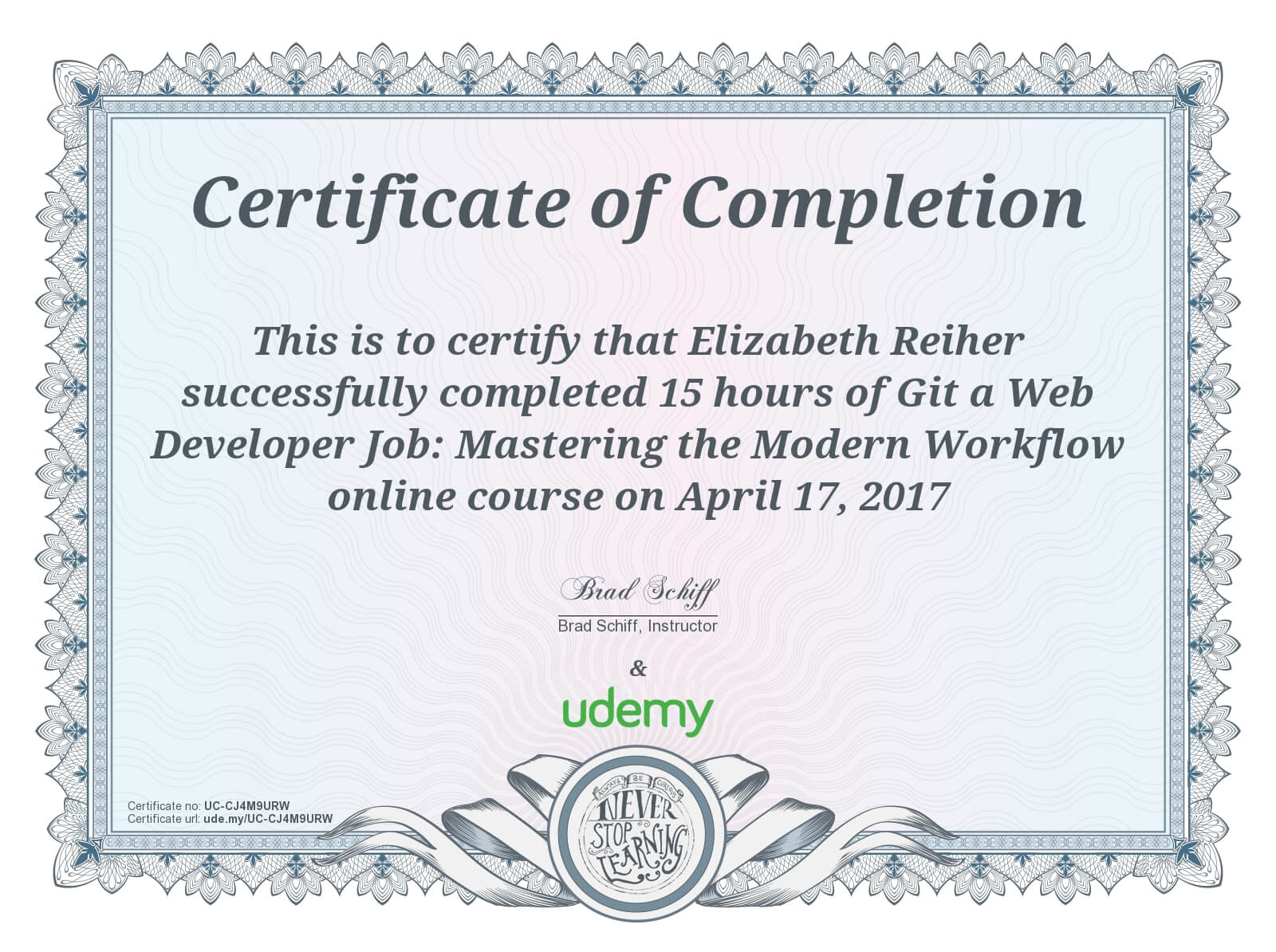 Git A Web Developer Job Udemy Course Certificate of Completion