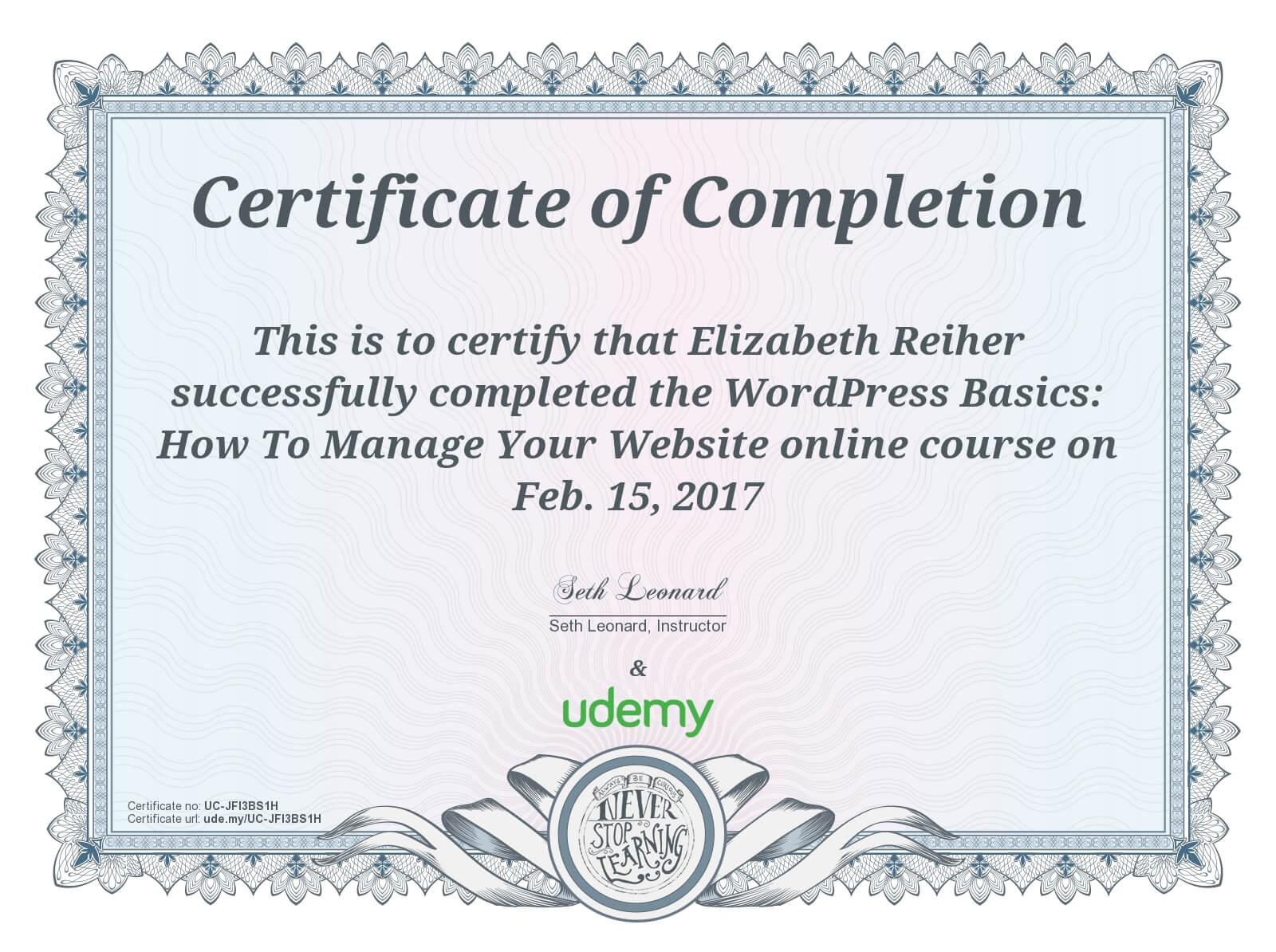 WordPress Basics Udemy Course Completion Certificate